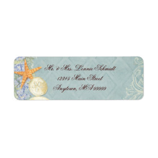 Floral Cottage by the Sea Shells Beachy Wedding Return Address Label