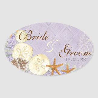 Floral Cottage by the Sea Shells Beachy Wedding Oval Sticker