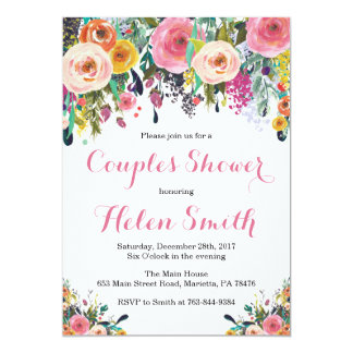 Floral Couples Shower Invitation Card Watercolor