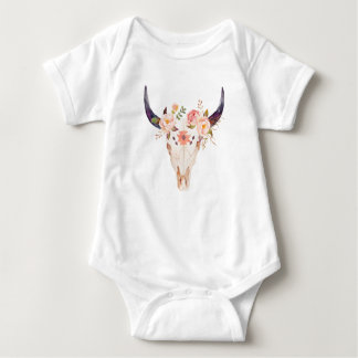 Floral cow bull skull   flower crown baby bodysuit