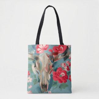 Floral Cow Skull tote bag | southwestern art bag