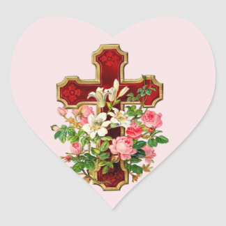 Floral Cross Heart Sticker