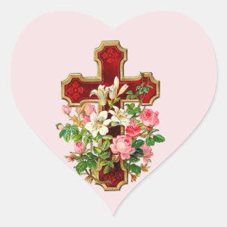 Floral Cross Heart Sticker