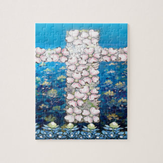 Floral Cross Jigsaw Puzzle