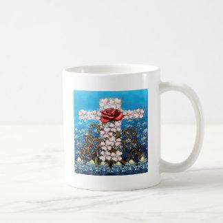 Floral Cross Rose Coffee Mug