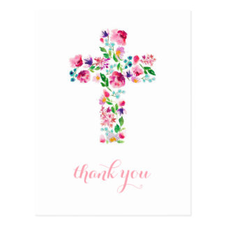 Floral Cross thank you note, christening thank you Postcard
