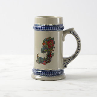 Floral Curls Abstract Modern Art Beer Stein