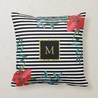 Floral Custom Faux Gold Monogram | Black and White Throw Pillow