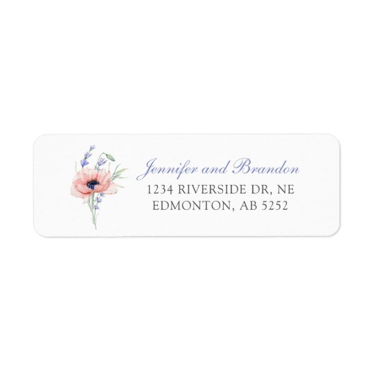 Floral Custom Wedding Return Address Label
