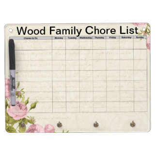 Floral customized family chore list dry erase board with keychain holder