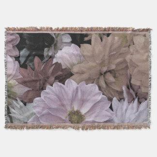 Floral Dahlia Garden Flowers Throw Blanket