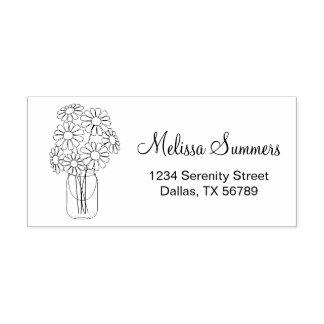 Floral Daisies Mason Jar Address Rubber Stamp
