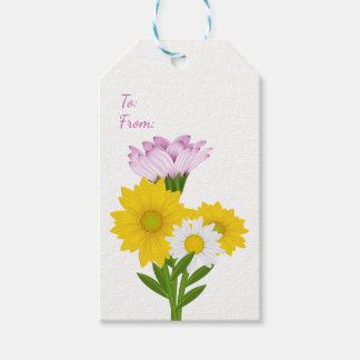 Floral Daisies &Sunflowers Purple Yellow Flowers Gift Tags