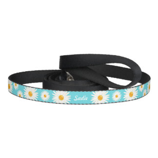 Floral Daisy Flowers On Blue And Pet's Own Name Pet Lead