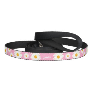 Floral Daisy Flowers On Pink And Pet's Own Name Dog Leash