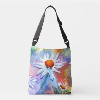 Floral Daisy Watercolour Cross Body Bag