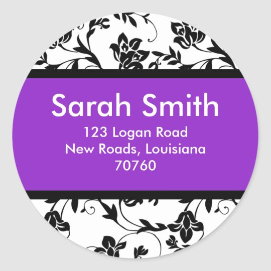Floral Damask Classic Round Sticker
