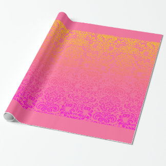 Floral Damask (Coral and Pink) Wrapping Paper