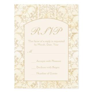 Floral Damask Creme and Beige Wedding RSVP Postcard