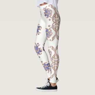 floral damask golden element. leggings