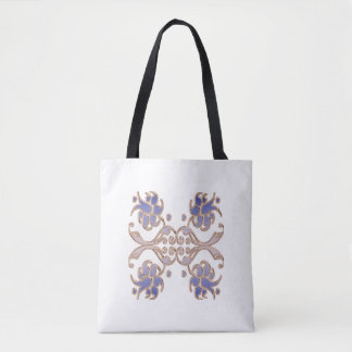 floral damask golden element. tote bag