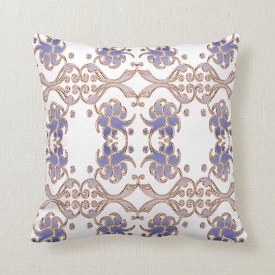 Floral damask golden pattern throw pillow