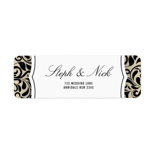 Floral damask on beige wedding card