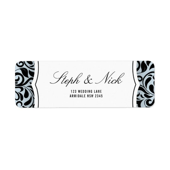 Floral damask on light grey wedding card