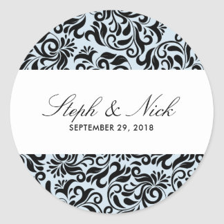 Floral damask on light grey wedding classic round sticker