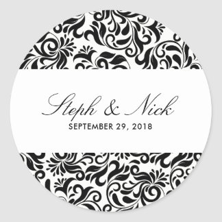 Floral damask on light wedding classic round sticker