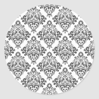 Floral damask ornament classic round sticker