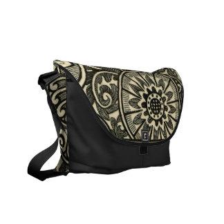 Floral Damask Pattern Rickshaw Messenger Bag
