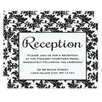 "Floral Damask Reception Black & White Wedding 3.5"" X 5"" Invitation Card"