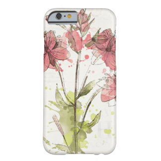 Floral Dark Pink Splash Barely There iPhone 6 Case