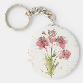 Floral Dark Pink Splash Basic Round Button Keychain