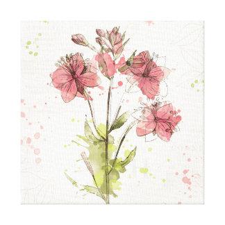 Floral Dark Pink Splash Canvas Print