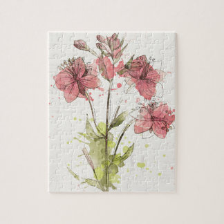 Floral Dark Pink Splash Jigsaw Puzzle