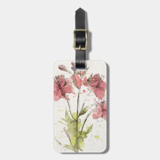 Floral Dark Pink Splash Luggage Tag