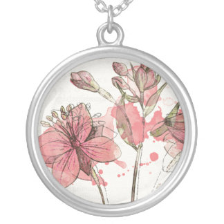 Floral Dark Pink Splash Silver Plated Necklace