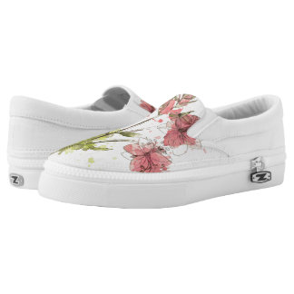 Floral Dark Pink Splash Slip-On Sneakers