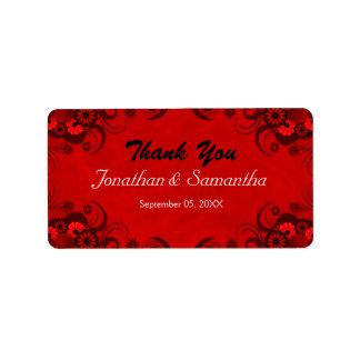 Floral Dark Red Gothic Medium Wedding Favor Labels