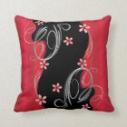 Floral Deep Red and Black Swirl Design Throw Pillow