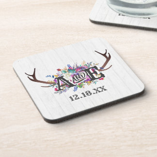 Floral Deer Antler Bouquet Rustic Wedding Monogram Coaster