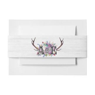Floral Deer Antler Bouquet Rustic Wedding Monogram Invitation Belly Band