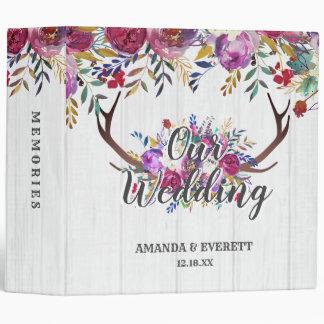 Floral Deer Antler Bouquet Wedding Photo Album 3 Ring Binder