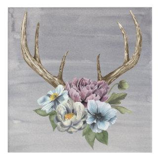 Floral Deer Antlers Acrylic Wall Art