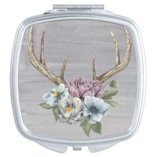 Floral Deer Antlers Travel Mirrors