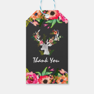 Floral Deer Boho Chic Thank You Favor Tag Pack Of Gift Tags