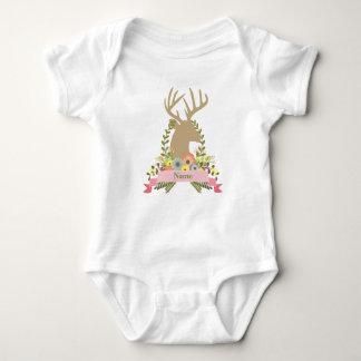 Floral Deer Custom Baby Jersey Bodysuit