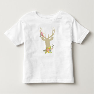 Floral Deer Custom Toddler Fine Jersey T-Shirt